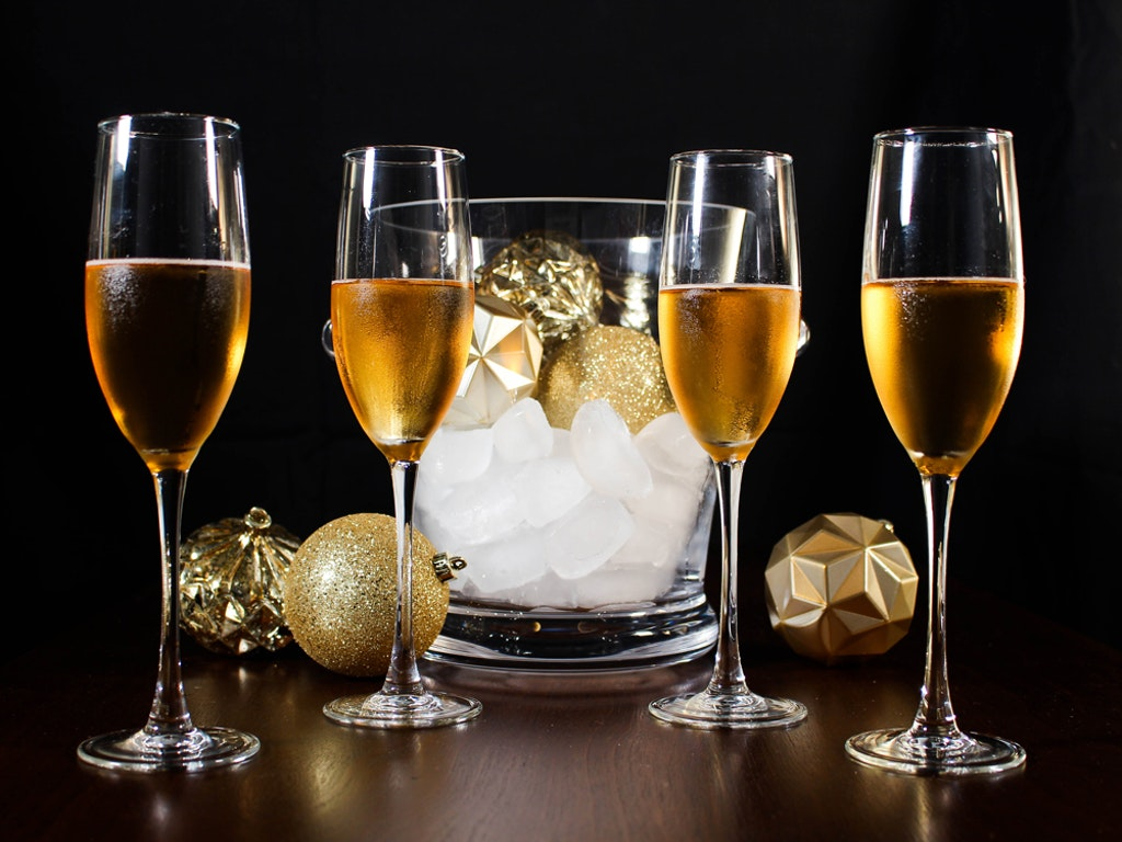Etched Champagne Flutes and Ice Bucket